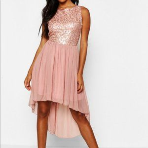 NWT BOOHOO Dress, Blush Pink Sequins High Low, 12